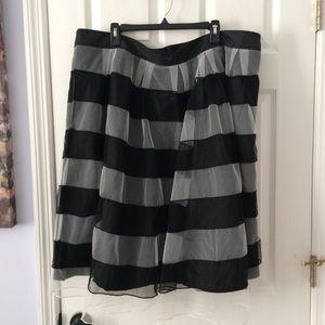 eShakti Banded Stripe Contrast Tulle Skirt NWOT